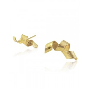 Algae Spiral Stud Earrings, Gold