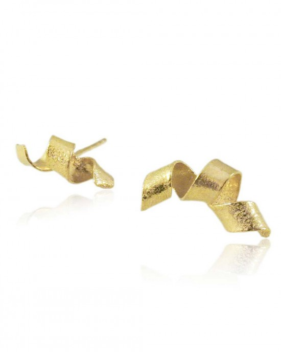 Algae Spiral Stud Earrings, Gold