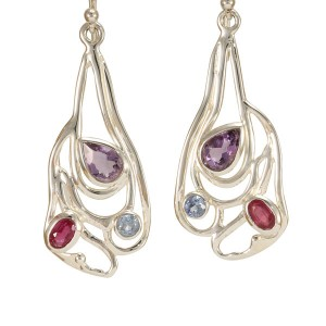Amethyst Blue Topaz Ruby CZ Silver Earrings