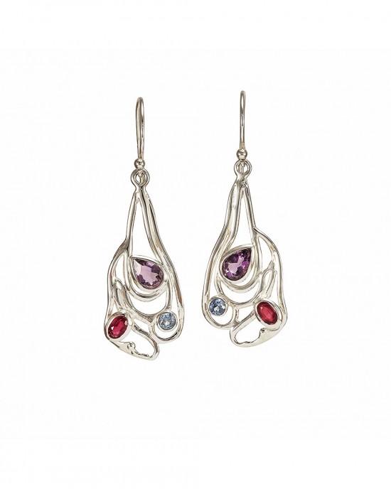 Amethyst Blue Topaz Ruby CZ Silver Earrings