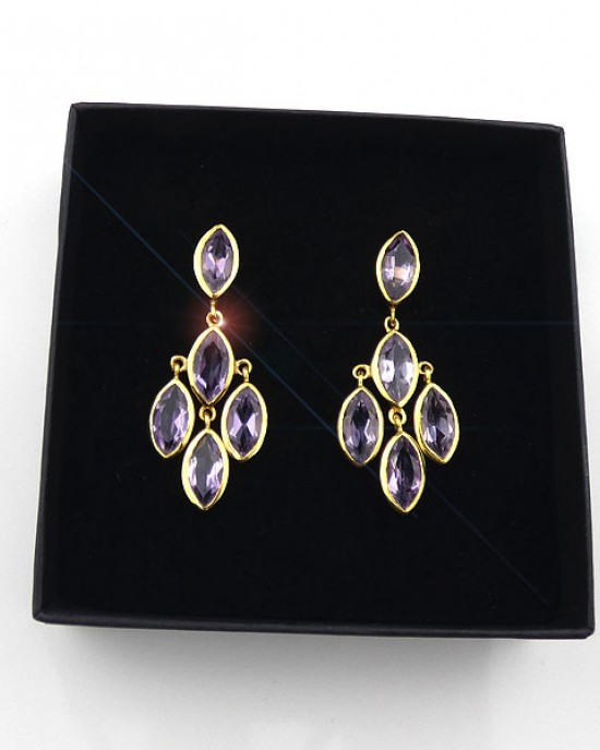 Amethyst Gold Plated Drop Earrings
