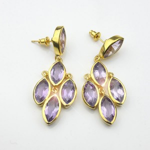 Amethyst Gold Plated Drop Earrings
