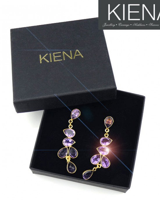 Amethyst Long Drop Gold Plated Earrings