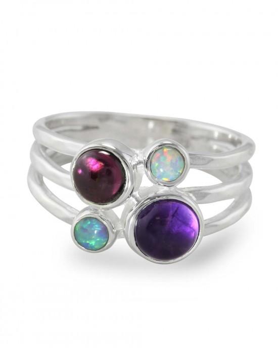 Amethyst, Garnet & Opalite Triple Banded Silver Ring - RINGS