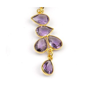 Amethyst Long Drop Stud Earring