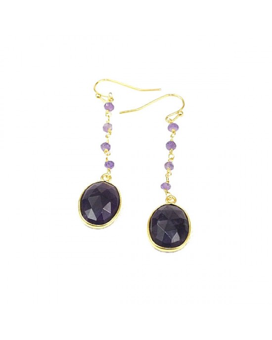 Amethyst Hook Gold Plated Hook Earring