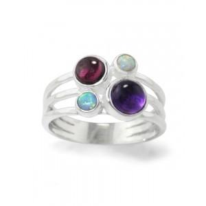Amethyst, Garnet & Opalite Triple Banded Silver Ring