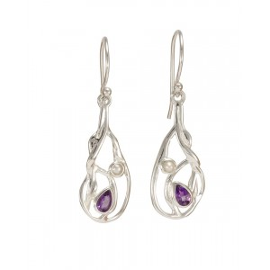 Amethyst & Pearl Silver Hook Earrings