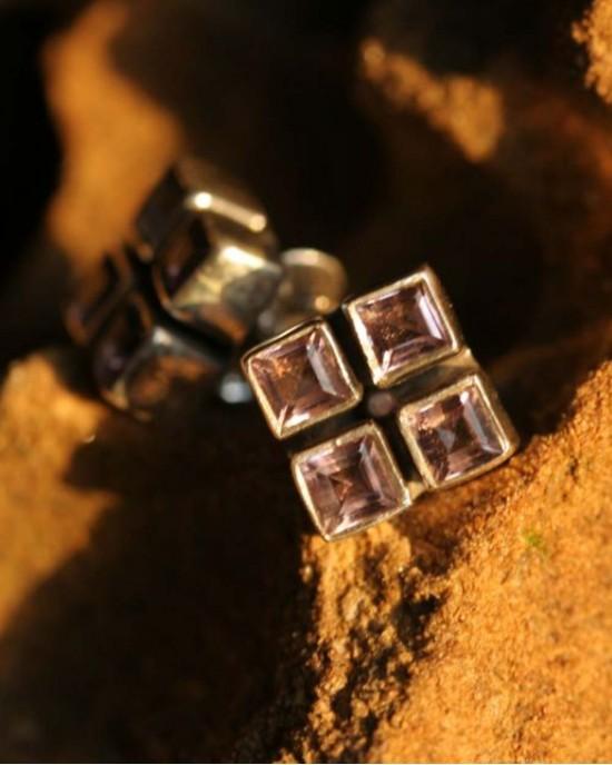 Amethyst Silver Stud Earrings - EARRINGS