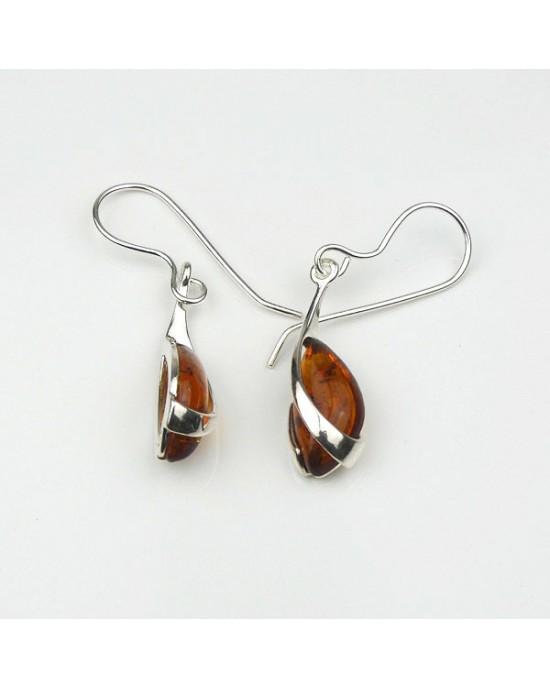 Baltic Amber Silver Overlay Hook Earrings - EARRINGS