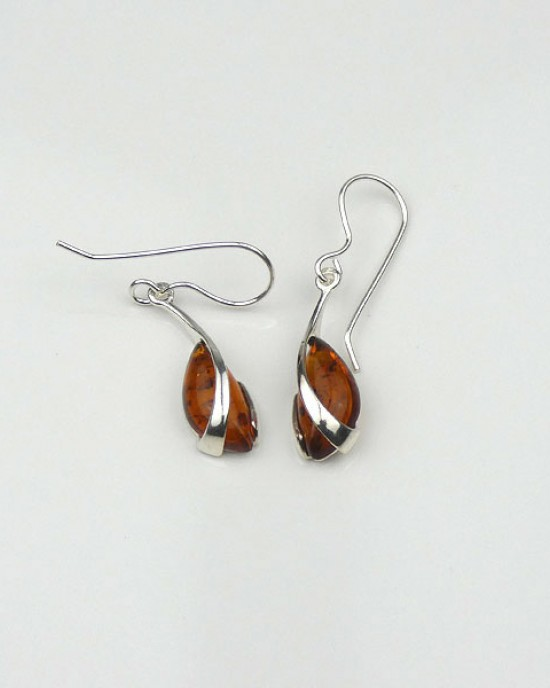 Baltic Amber Silver Overlay Hook Earrings