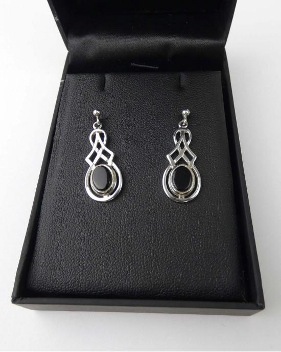 Black Onyx Silver drop earrings - EARRINGS
