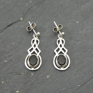 Black Onyx Silver drop earrings