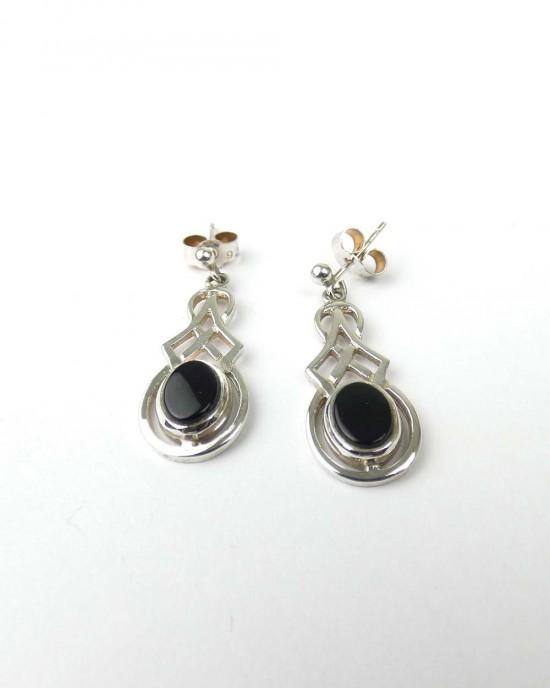 Black Onyx Silver drop earrings