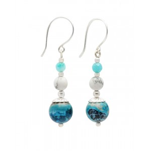 Blue Chalcedony White Howlite Drop Earrings