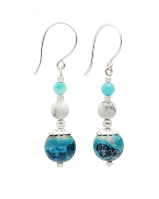 Blue Chalcedony White Howlite Drop Earrings