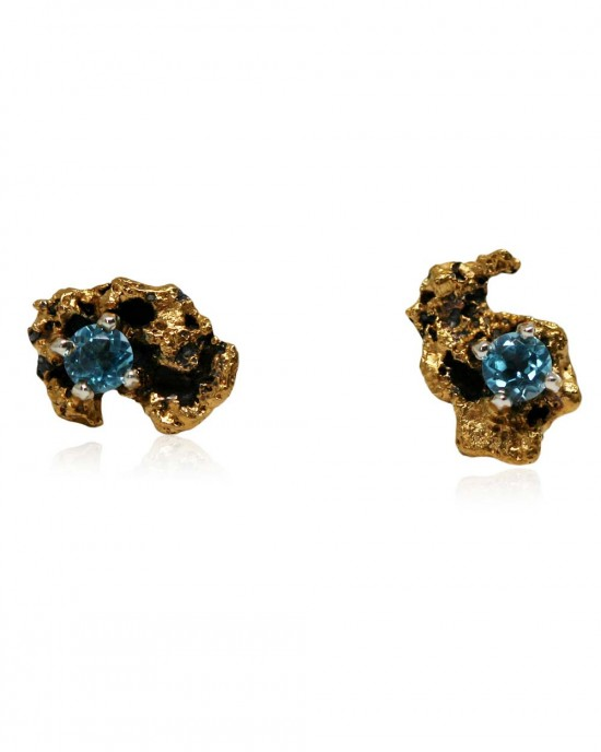 Blue Topaz Earrings, Silver, Gold, Out of the Sea