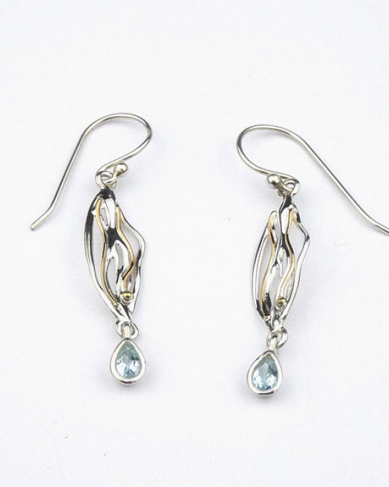 Blue Topaz Silver Hook Earrings with Gold Wire