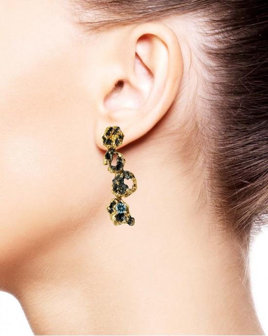 Blue Topaz Long Earrings, Silver, Gold, Out of the Sea - EARRINGS