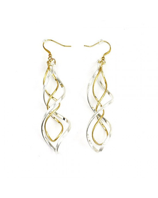 Brushed Gold and Silver Plated Earrings - EARRINGS