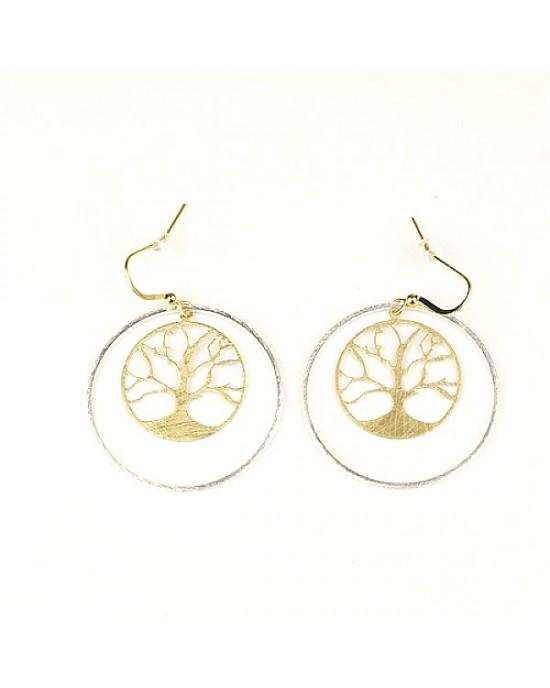 Brushed Gold Silver Plated Tree Earrings - EARRINGS