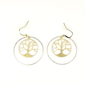 Brushed Gold Silver Plated Tree Earrings