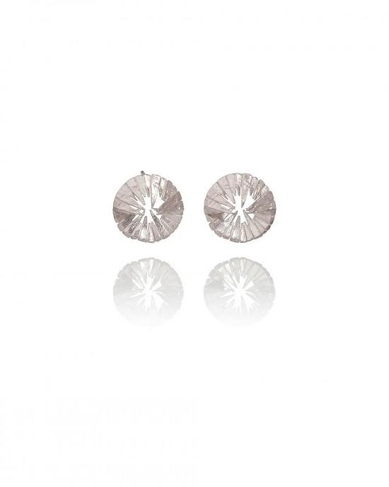 Circular Silver Stud Earrings - EARRINGS
