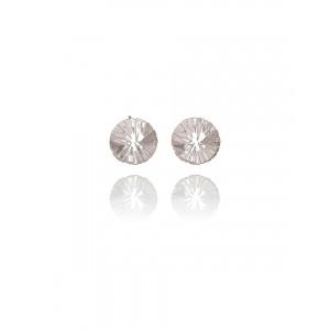 Circular Silver Stud Earrings