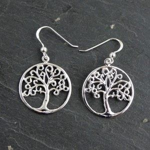 Circular Silver Earrings with Tree Design