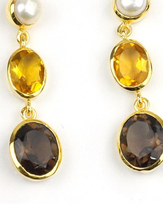 Pearl Citrine Smokey Quartz Gold Plated Earrings