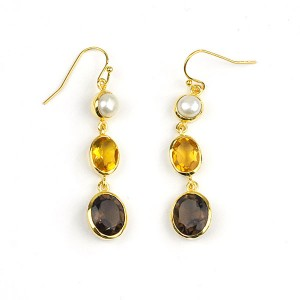 Pearl Citrine Smokey Quartz Gold Plated Earrings