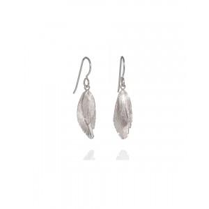 Double Drop Silver Feather Earrings