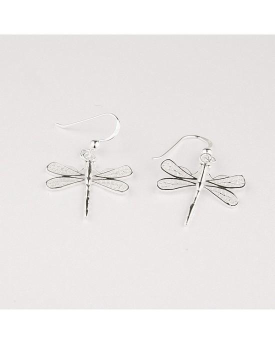 Dragonfly Sterling Silver Hook Earrings - EARRINGS
