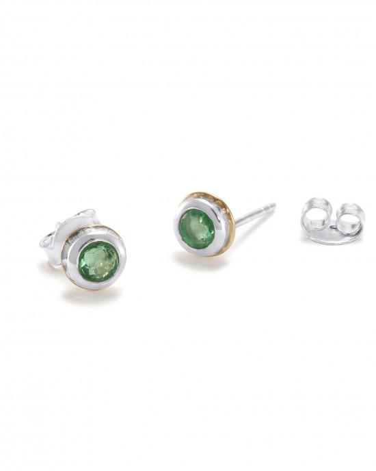 Emerald Silver Stud Earrings - EARRINGS