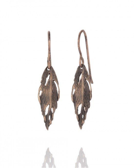 Feather Drop Earrings Bronze - EARRINGS