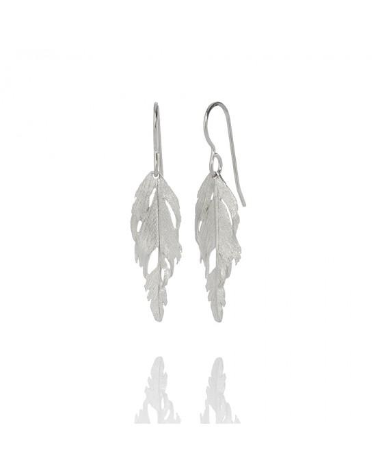 Feather Silver Drop Earrings - EARRINGS