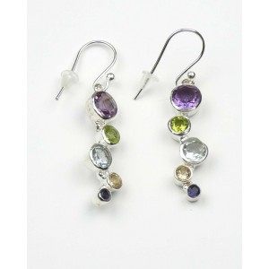 Five Stone Drop Silver Hook Earrings