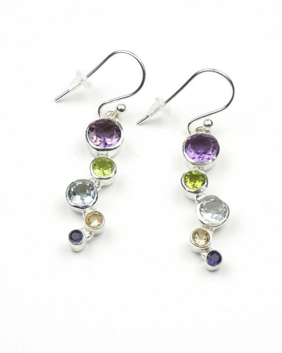 Five Stone Drop Silver Hook Earrings