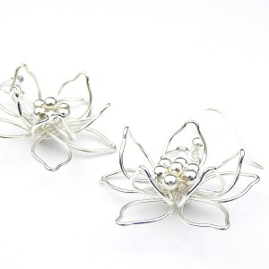 Silver Flower Hook Earrings
