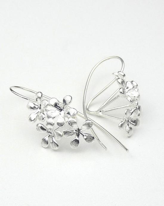 Flower Silver Hook Earrings