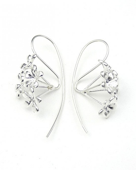 Flower Silver Hook Earrings