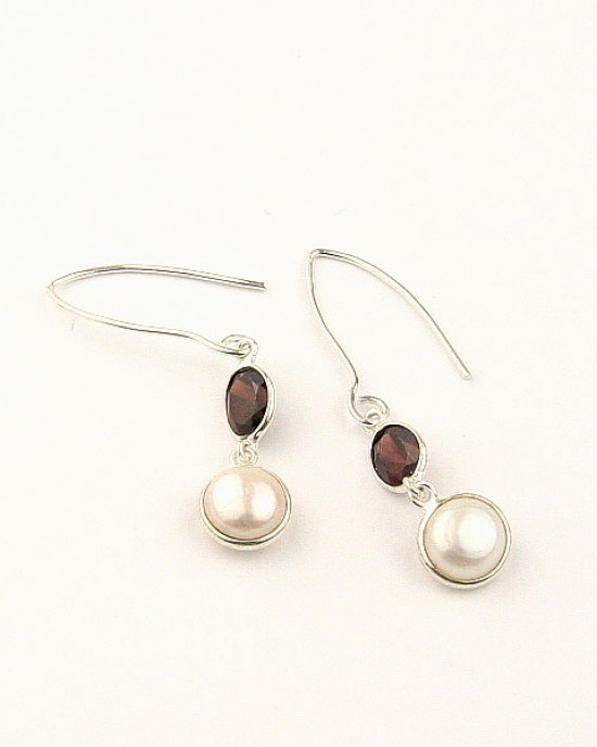 Garnet, Freshwater Pearl, Silver Drop Earrings