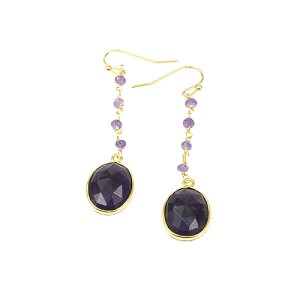 Amethyst Hook Gold Plated Hook Earrings