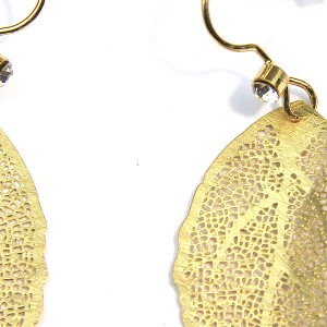 Gold Plated Leaf Drop Earrings with Crystals