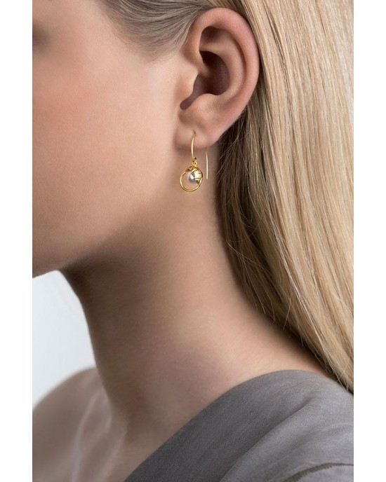 Gold Plated Silver Crystal Pearl Earrings - EARRINGS