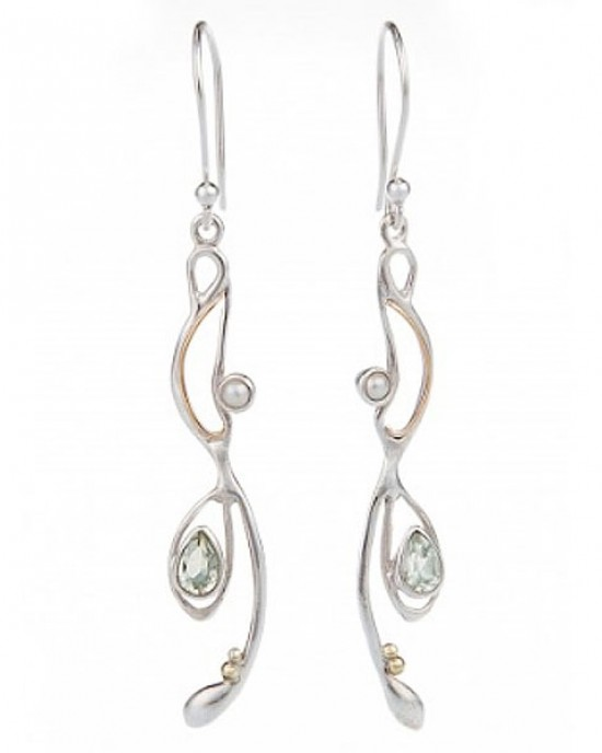Green Amethyst Pearl Drop Earrings