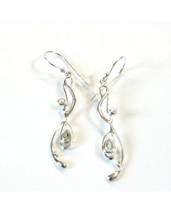 Green Amethyst Pearl Drop Silver Earrings - EARRINGS
