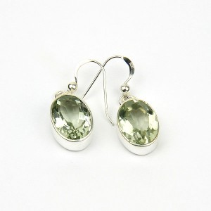 Green Amethyst Silver Hook Earrings