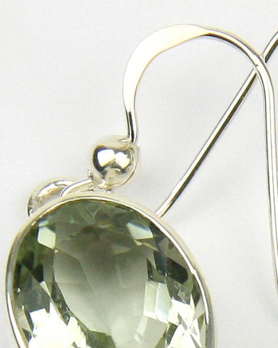 Green Amethyst Silver Hook Earrings