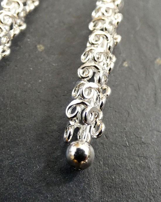 Intertwined Silver Long Drop Earrings